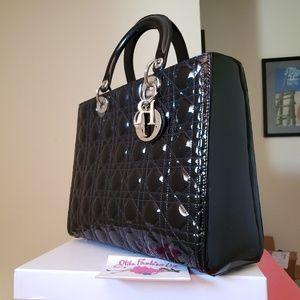Lady Dior large black Patent leather bag